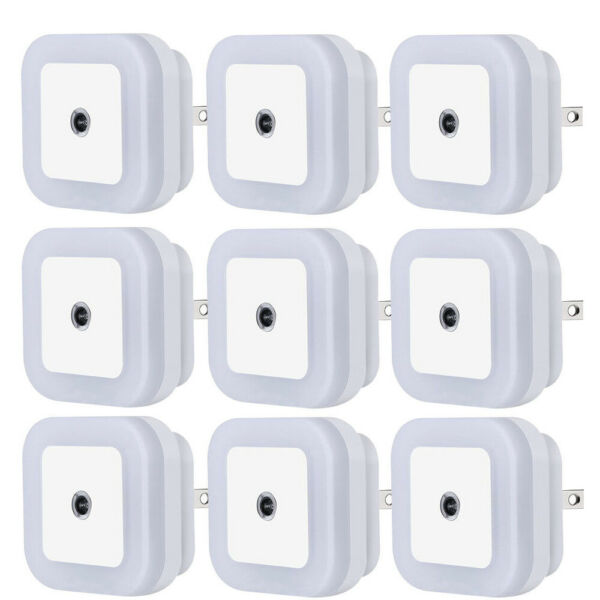 8Pcs Plug in LED Night Light Lamp Dusk to Dawn Sensor Hallway Kitchen Bathroom
