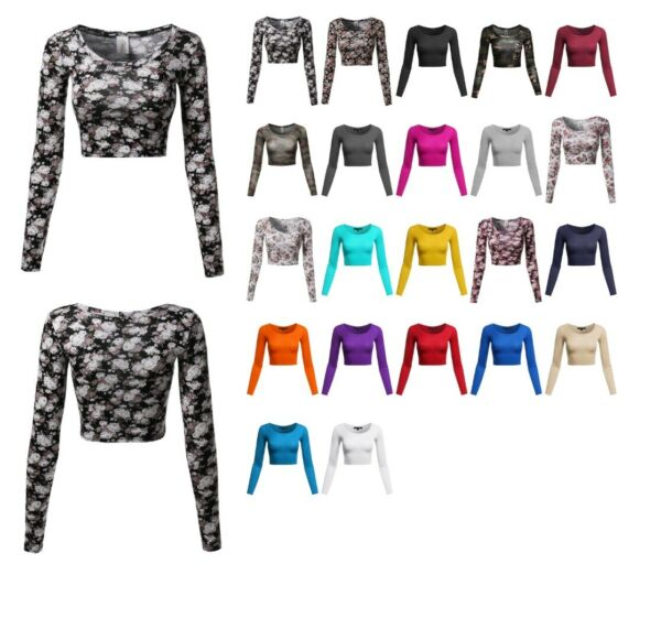 FashionOutfit Women's Floral Prints Lightweight Long Sleeve Crop Top