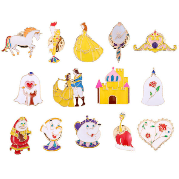 Beauty and the Beast metal princess pins brooches pendant pin anime cute