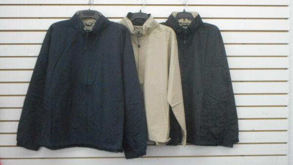 Men#x27;s A Navy Black amp; Khaki Water Repellent Hooded Windbreaker Sizes Small 5XL