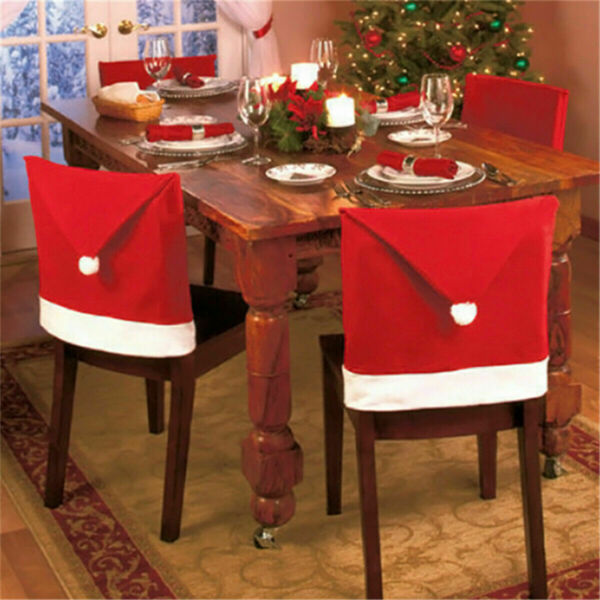 6 Red Hat Chair Back Cover Santa Clause Hat Christmas Dinner Table Xmas Decor $14.99