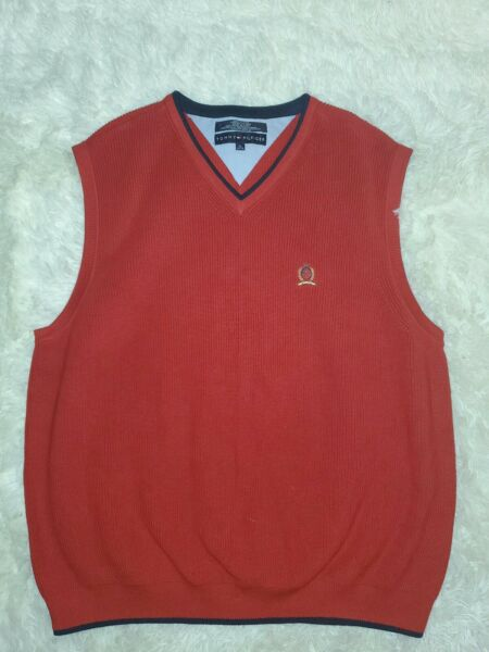 Vintage 90#x27;s Tommy Sweater Vest Pullover XL Red Sleeveless VTG Excellent Cond#x27;t $19.99