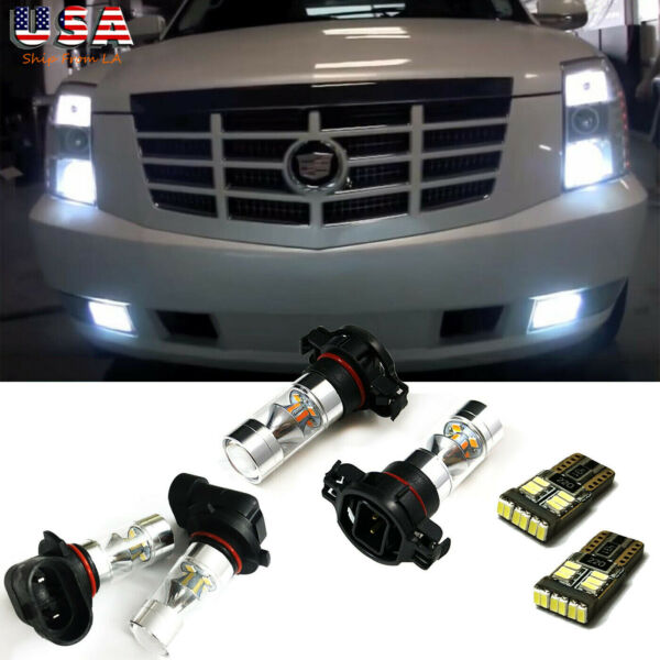 6x White LED For 2007-14 Cadillac Escalade Fog Driving DRL Light Bulbs Combo