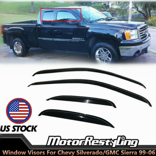 Shade Window Visors For 1999-2006 Chevy SilveradoGMC Sierra Extended Cab Vent