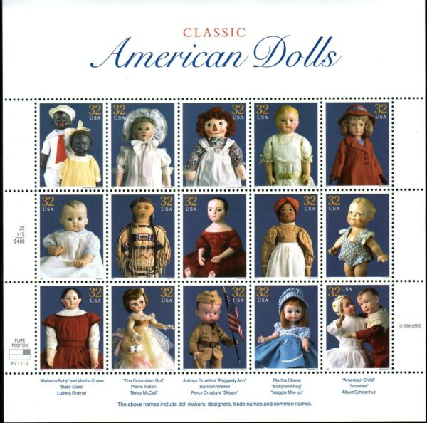 AT FACE VALUE! #3151 AMERICAN DOLLS. MINT SHEET. F-VF NEVER HINGED.