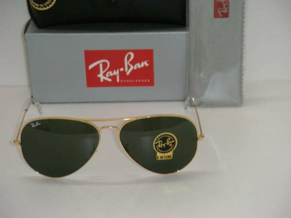 RAY BAN 3026 AVIATOR GOLD FRAME RB 3026 L2846 62mm GREEN G-15 SUNGLASSES LARGE $47.99