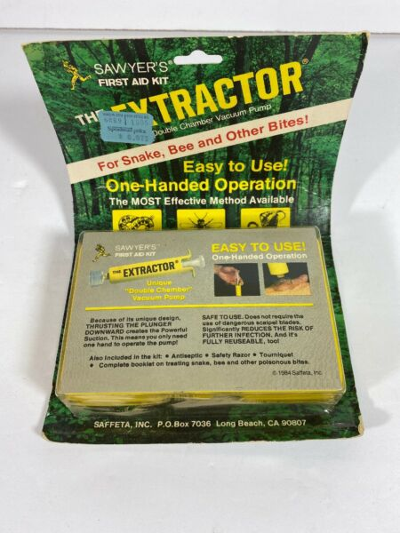 Vintage 1984 New Sawyer The Extractor Complete Bite Sting First Aid Kit $24.99