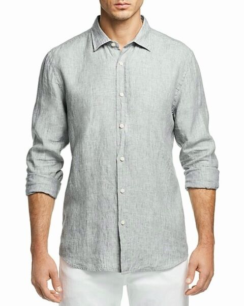 NEW $98 BLOOMINGDALE#x27;S MENS GRAY AGAVE GREEN 100% LINEN BUTTON DOWN SHIRT