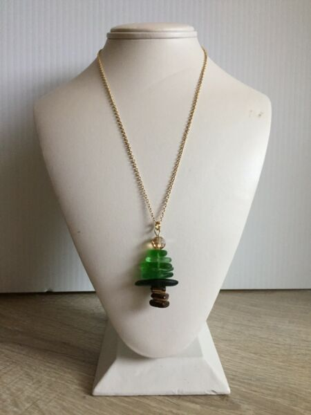 Handmade Authentic Lake Erie Beach Glass Christmas Tree Necklace Gold Chain
