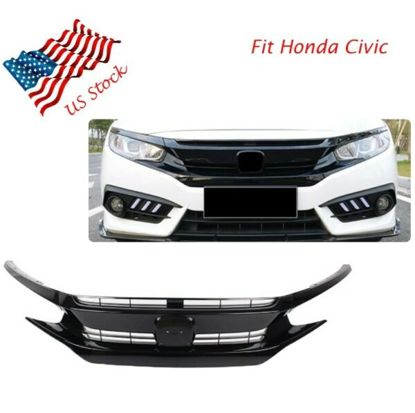 Black Front Hood Grill Grille Eyelid Fits 2016 2017 2018 Honda Civic Coupe Sedan