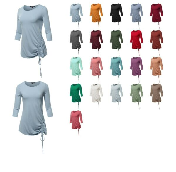 FashionOutfit Made by Emma Women#x27;s Basic Solid Side Sleeve Shirring 3 4 Sleeve