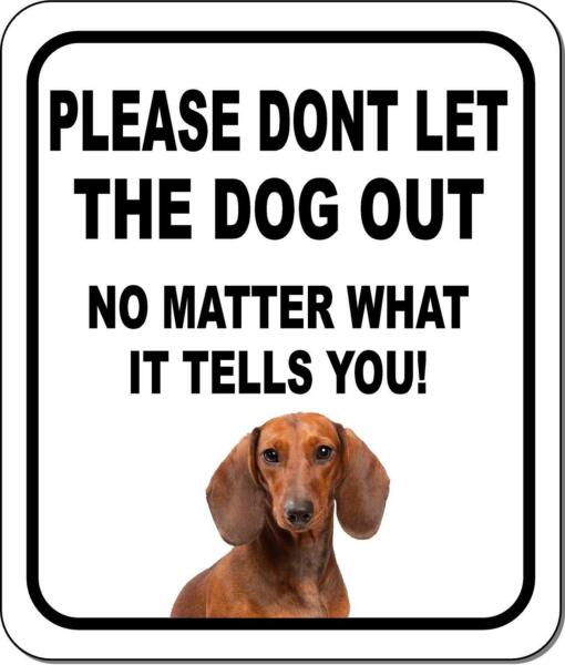 PLEASE DONT LET THE DOG OUT Dachshund Metal Aluminum Composite Sign $9.99