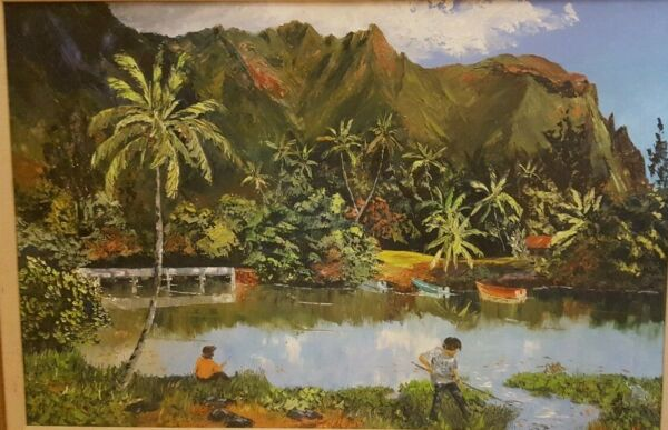 LOUIS HAGER HAWAII ARTIST OIL PAINTING