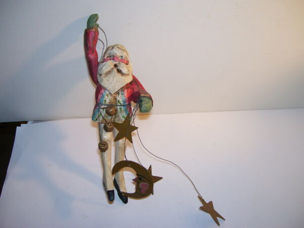 1983 Vintage House Of Hatten Santa Fairy Moon Star Christmas Ornament