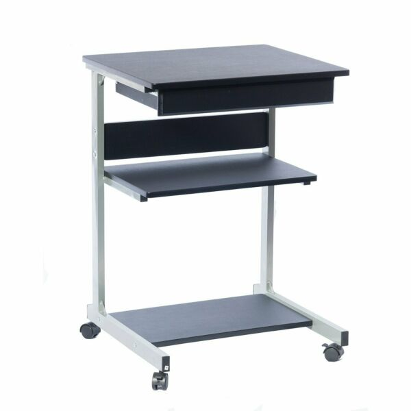 Mobile Laptop Desk, Printer Station with Pullout Drawer and 2 Storage Shelves