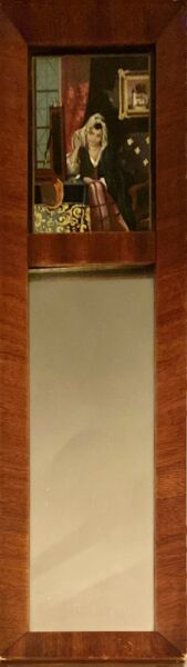 Antique Federal Style Wall Mirror Reverse Painted Scene Lady Looking in Mirror
