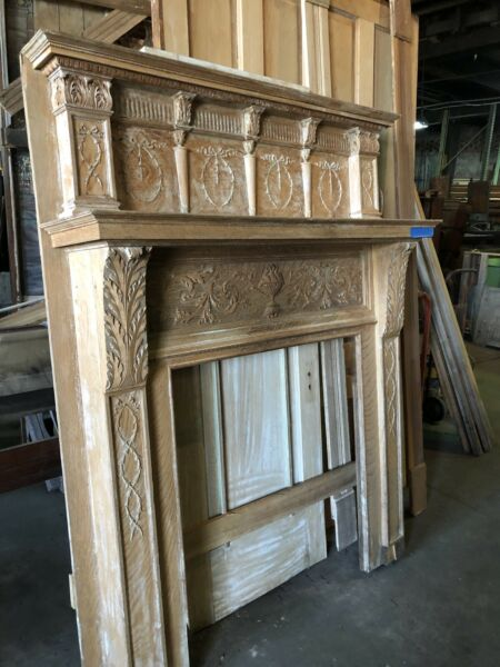 Vintage  Antique Quarter Sawn Oak Fireplace Mantel Nice Detail 1920's