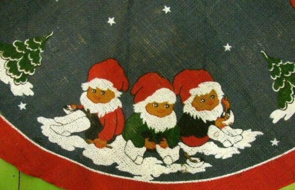 Elves Gnomes Scandinavian Burlap Christmas Tree Skirt  - Norwegian Swedish