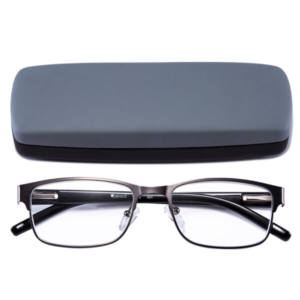 Reading Glasses Readers Metal Deluxe Rectangular gun Frame Business occasion Men