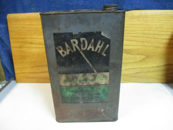 Vintage Bardahl Oil Additive Oil Can Tin 4 Liter or 1Gallon Canada (Paper Label)