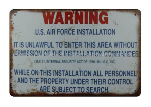 garage wall decals arning U.S.Air Force Installation metal tin sign $15.93