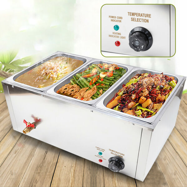 3-Pan Buffet Food Warmer Steam Table Commercial Kitchen Equipment 3*7L 850W 110V