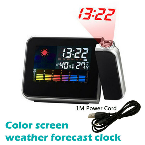 NEW!LED Projection Digital Alarm Time Clock Snooze Weather Thermometer Backlight