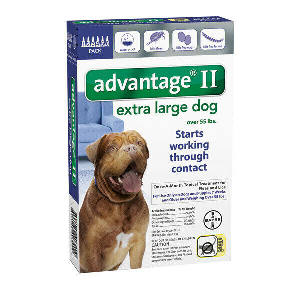 Bayer Advantage II For Dogs Over 55lbs - 6 Pack (US EPA Approved)