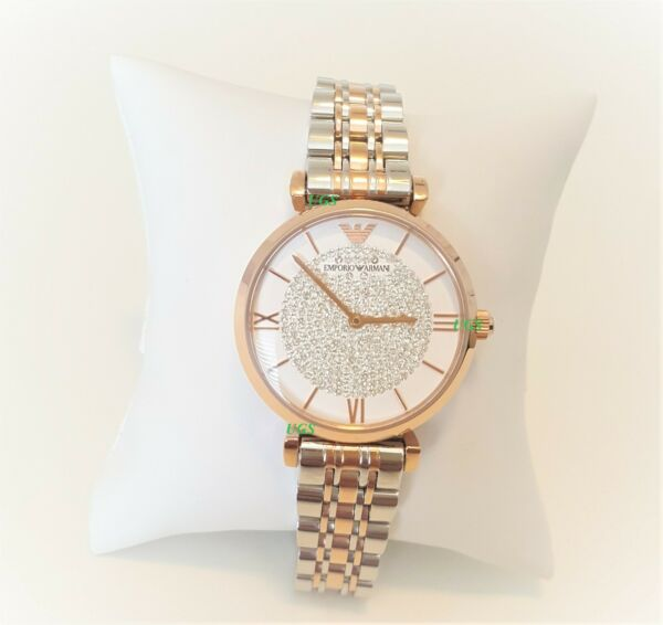 Emporio Armani Womens Watch White Dial Rose Gold Band AR1926 Genuine VIP Brands