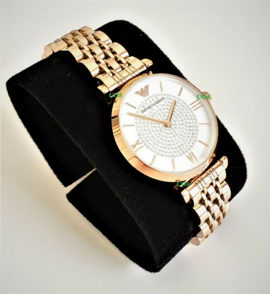 Emporio Armani Womens Watch Crystals White Dial Rose Gold Band AR11244 Genuine