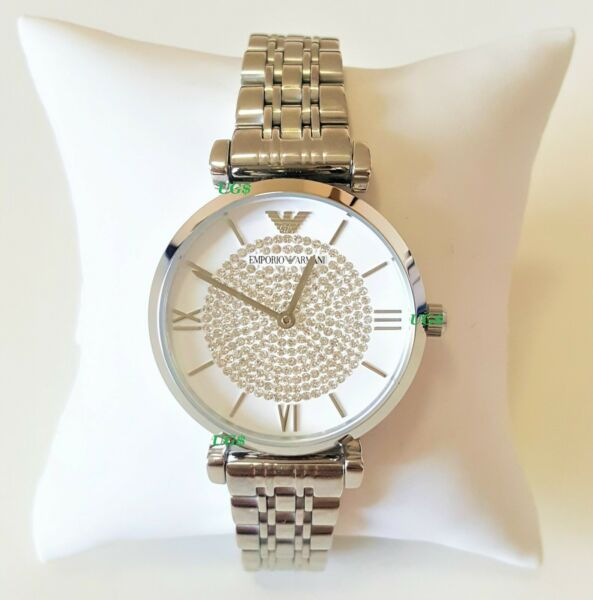 Emporio Armani Womens Watch Crystals White Dial Silver Band AR1925 Genuine VIP