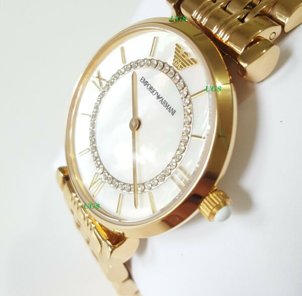 Emporio Armani Womens Watch Crystals White Dial Gold Band AR1907 Genuine VIP
