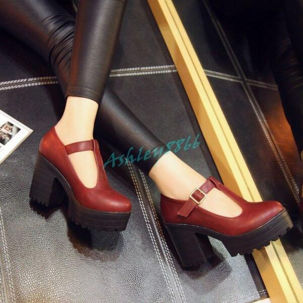 Mary Jane Womens T strap Platform Chunky High Heel hot Pump Shoes New ALL US Sz $40.02
