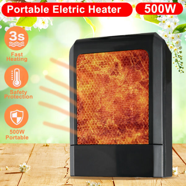 500W Mini Ceramic Electric Heater Home Office Space Heating Portable Fan Silent $20.21