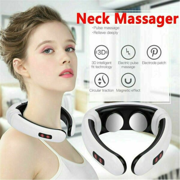 Electric Tens Unit Pulse Neck Massager Magnetic Meridian Therapy Vertebra Relax