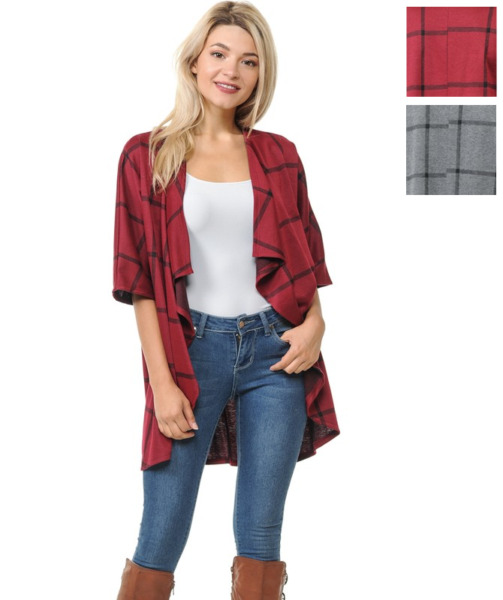 Women's Cardigan Open Front Plaid Short Sleeve Coat Checked Causal Office USA