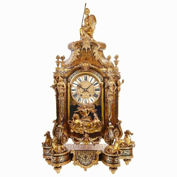 Large 19th Century French Boulle  Mantel Clock Museum Piece 1880s