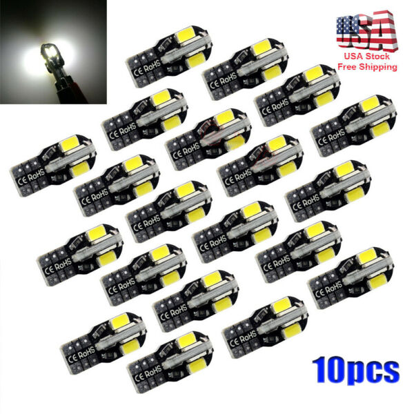 10pcs  Canbus T10 194 168 W5W 5730 8 LED SMD White Car Side Wedge Light Bulb