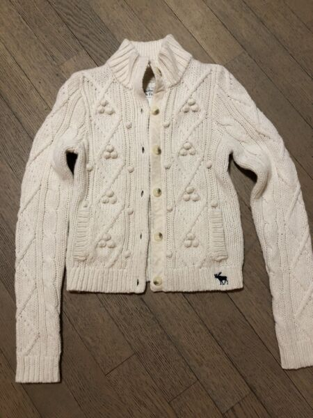 Abercrombie and Fitch Ivory Cable Knit Wool Blend Cardigan Size Med