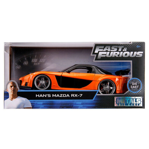 Jada Fast & Furious Movie Han's Mazda RX-7 1:24 Diecast Black Orange 30732