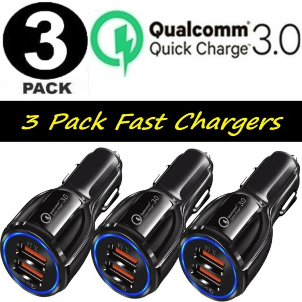 3 Pack 2 USB Port Fast Car Charger QC 3.0 for iPhone Samsung Android Cell Phone $10.99