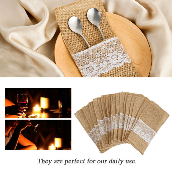 50Pack Hessian Burlap Lace Cutlery Holder Pocket Tableware Pouch Wedding Dinner