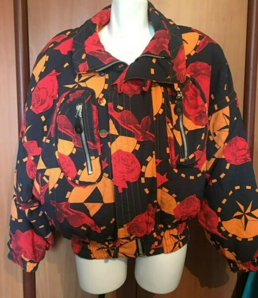 Women Jacket Black Red Roses Floral Bat Wing Fire And Ice Italy Medium Vintage $24.99