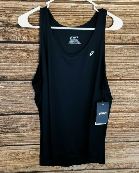 Women#x27;s XL Asics Black Running Tank Top Singlet Sleeveless Shirt Extra Large NWT