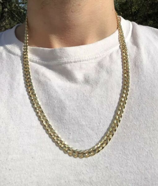 14k Yellow Gold 24 Inch Cuban Curb 8mm Chain Necklace $35.00