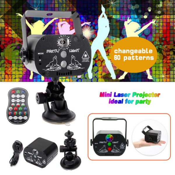 U`King 60 Patterns Laser Projector Stage Light LED RGB Party KTV Disco USB Lamp