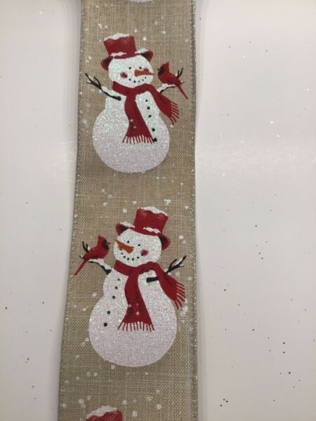 "10 Yds 2 1 2"" Wired Snowman With Cardinals Faux Linen burlap Christmas Ribbon"
