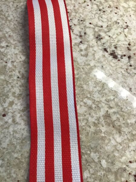 "5 Yds Of 2 1 2"" Wired Red And White Large Cabana Striped Faux Burlap Ribbon"