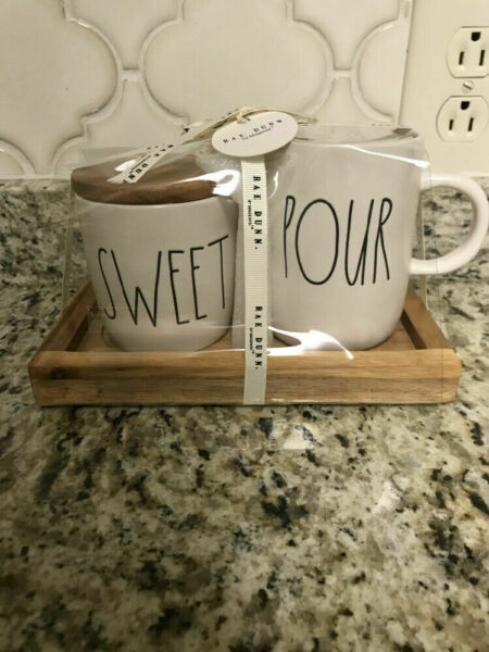 Rae Dunn SWEET Cellar With Wooden Lid POUR Creamer Pitcher SET Brand New
