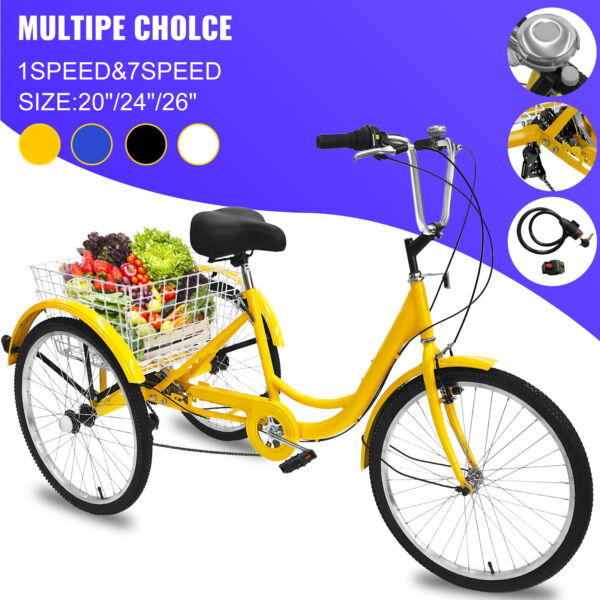 20 24 26quot; Adult Tricycle 1 7 Speed 3 Wheel Adult Trike Bicycle w Basket amp; Tool $249.99